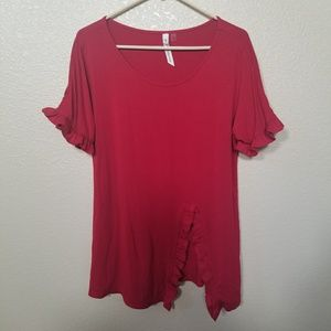 NY Collection Red Ruffle Trim Shirt Size Medium